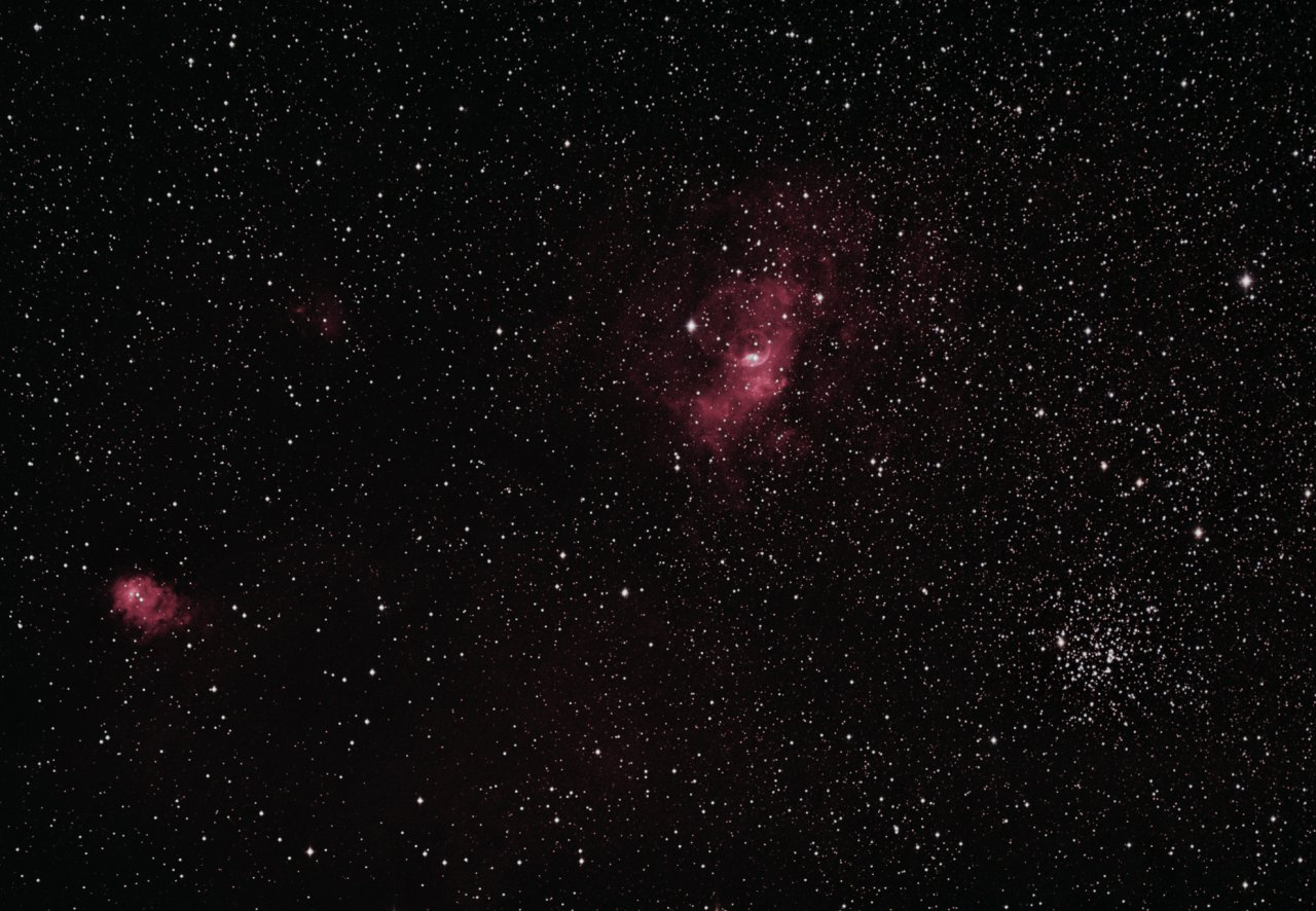 NGC7635, the Bubble Nebula, NGC7538, M52