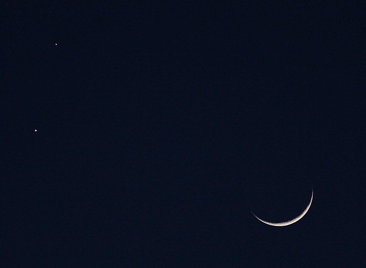 Moon, Venus, Mars