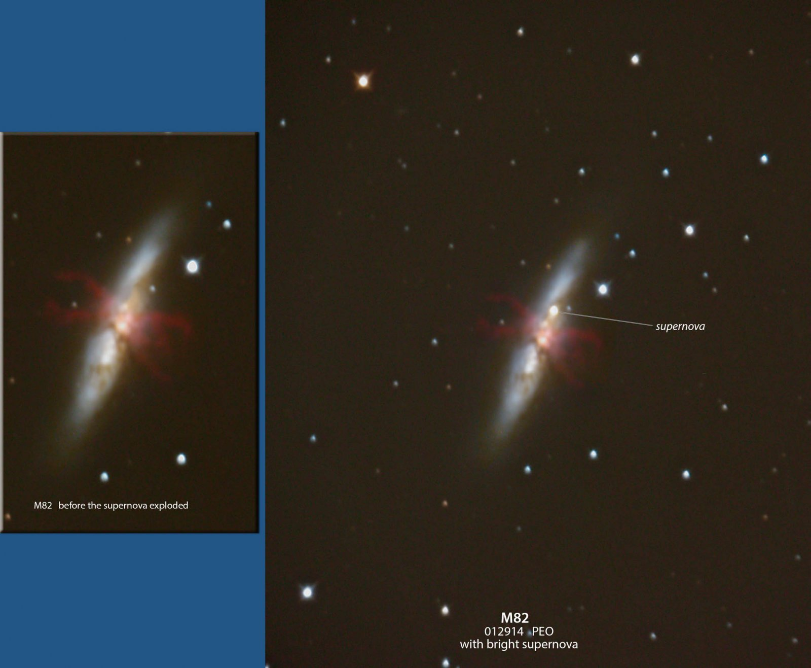 M82 Supernova, before and after