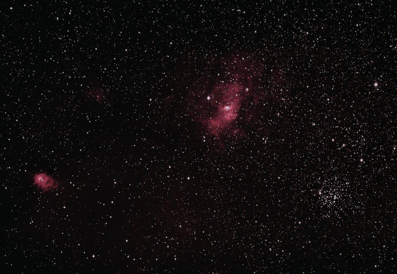 NGC7635, the Bubble Nebula, NGC7538, M52